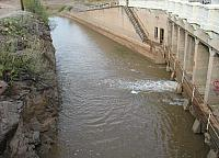 Water being diverted at the Diversion Dam