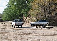 James and Chad's white Range Rovers